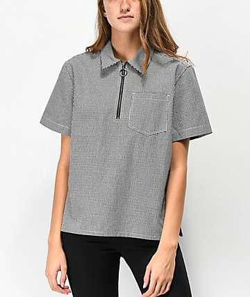 Empyre Hope Black & White Half Zip Shirt