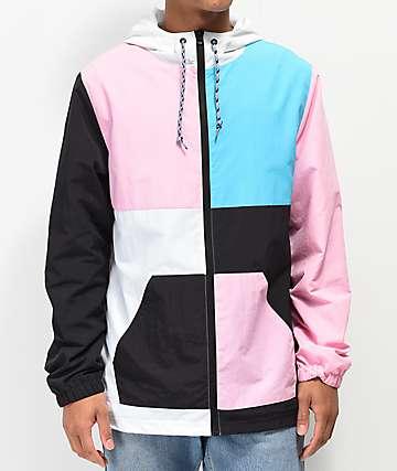 Empyre Hugo Blue, White, Black & Pink Color Block Windbreaker Jacket