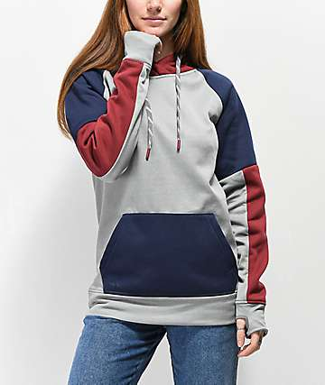 Empyre Icy Grey, Red, & Blue Colorblock Hoodie