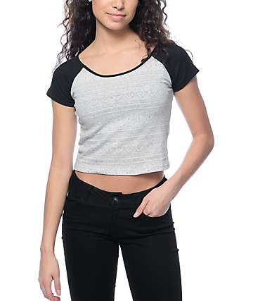 Empyre Ida Black & Grey Tribal Crop Top