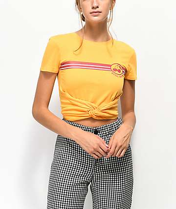 Empyre Ilaria Cherry Yellow Knot Crop T-Shirt