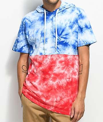 Empyre Inked  camiseta en rojo, azul y blanco con efecto tie dye y capucha