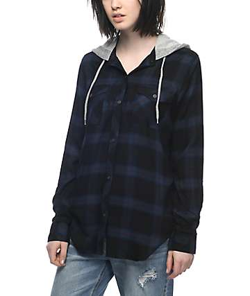 Empyre Jai Black, Navy & Burgundy Hooded Flannel