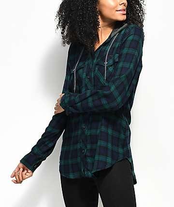 Empyre Jai Blue & Green Hooded Flannel