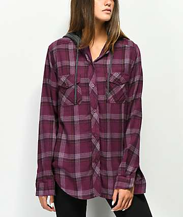Empyre Jai Burgundy Hooded Flannel Shirt