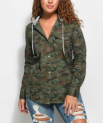 Empyre Jai Camo Hooded Flannel Shirt
