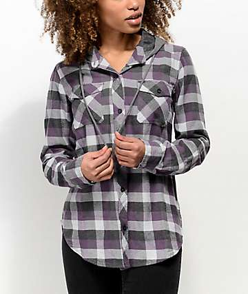 Empyre Jai Grey & Purple Hooded Flannel Shirt