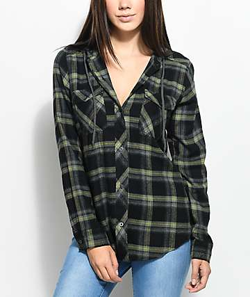 Empyre Jai Olive Hooded Flannel Shirt