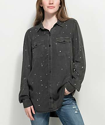 Empyre Jamie Black Paint Splatter Button Up Shirt