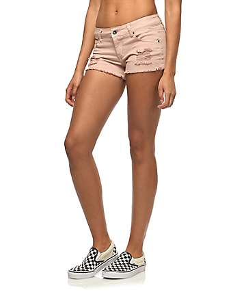 Empyre Jenna Light Pink Destructed Shorts