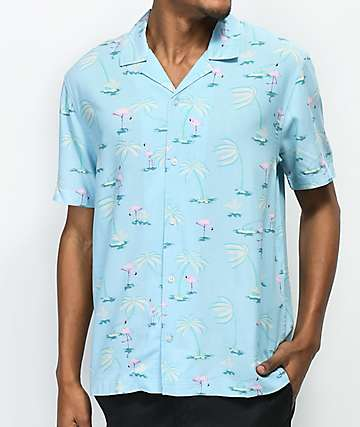 Empyre Jeremy Light Blue & Flamingo Short Sleeve Button Up Shirt