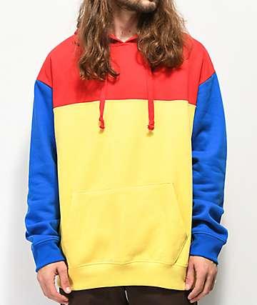Empyre Jester sudadera con capucha roja, azul y amarilla