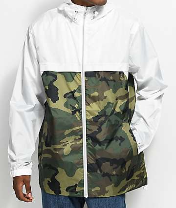 Empyre Jet Camo & White Hooded Windbreaker Jacket