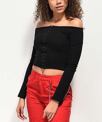 Empyre Jhazelle suéter negro con escote Bardot