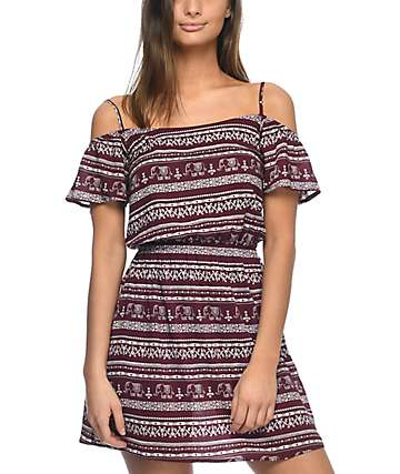 Empyre Jiji Cold Shoulder Burgundy Elephant Dress