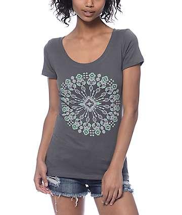 Empyre Kaleidoscope Scoop Neck Grey T-Shirt