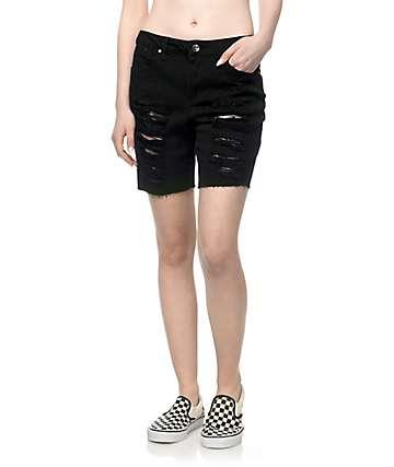 Empyre Kali Black Destructed Boyfriend Shorts