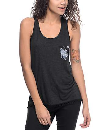 Empyre Karrin camiseta sin mangas en negro floral