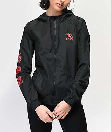 Empyre Keana Dragon Kanji Black Windbreaker Jacket