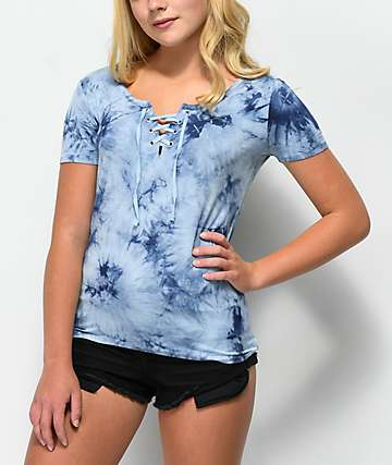 Empyre Keaton Lace-Up Blue Tie Dye Top