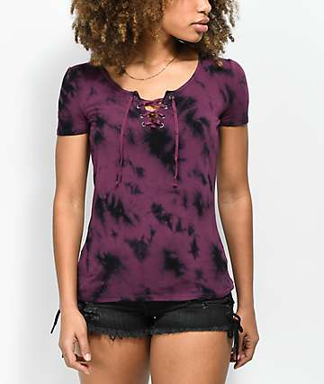 Empyre Keaton Lace Up Burgundy Tie Dye Top
