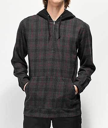 Empyre Kenney camisa de franela gris y negra con capucha