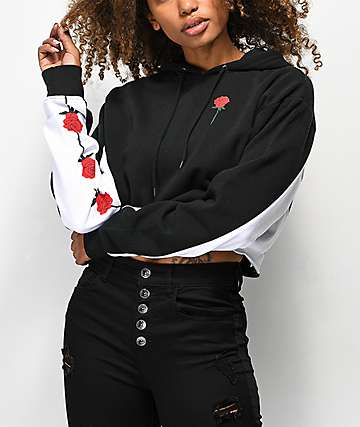 Empyre Kennita Savage Rose Black Crop Hoodie