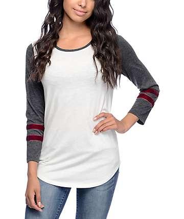 Empyre Kickflip Cream, Charcoal & Burgundy Shirt