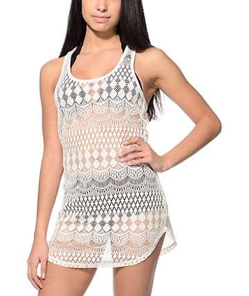 Empyre Kierra Cream Crochet Tank Dress