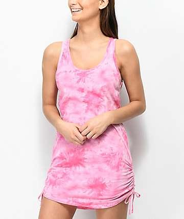 Empyre Kipling vestido de playa rosa con efecto tie dye