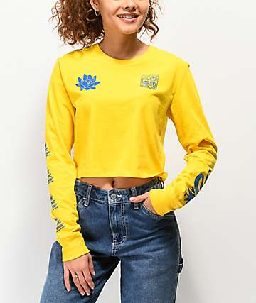 Empyre Kode Dragon Yellow Crop Long Sleeve T-Shirt