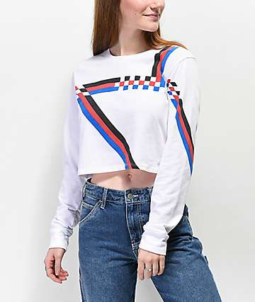 Empyre Kode White Crop Long Sleeve T-Shirt