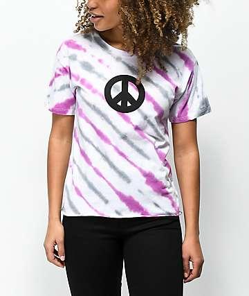 Empyre Kym Peace Sign camiseta tie dye rosa