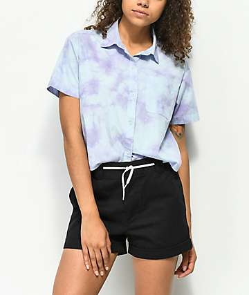 Empyre Lanikai Blue Tie Dye Crop Short Sleeve Button Up Shirt