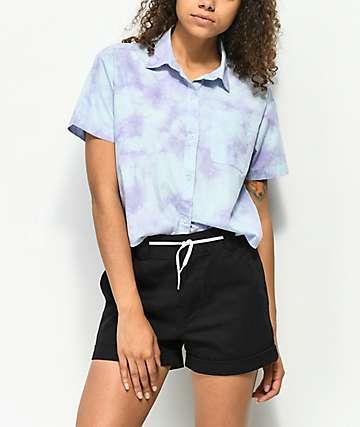 Empyre Lanikai Blue Tie Dye Crop Short Sleeve Button Up Shirt