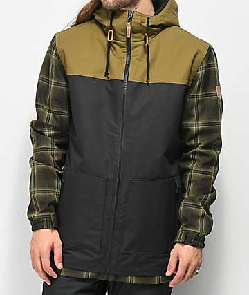 6d972683c991 Empyre Larch Olive Plaid 10K Snowboard Jacket