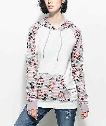 Empyre Larissa Mauve Stripe Floral Hoodie