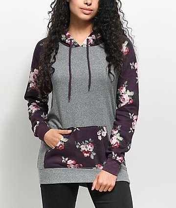 Empyre Larissa sudadera con capucha en gris y color vino floral