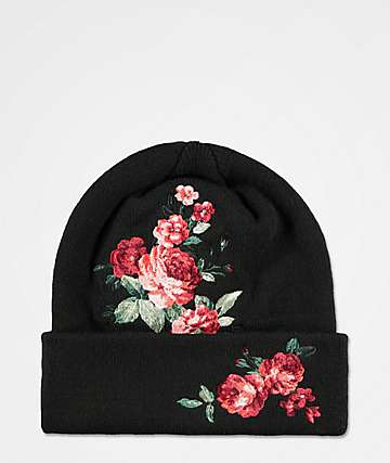 Empyre Liandra Embro Rose Black Beanie