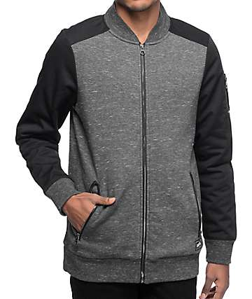 Empyre Location Twill Black & Charcoal Bomber Jacket
