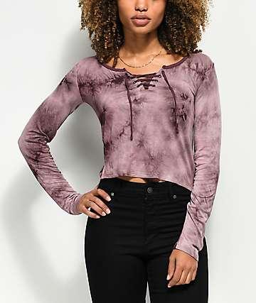 Empyre Lola camiseta morada de manga larga con efecto tie dye y cordones