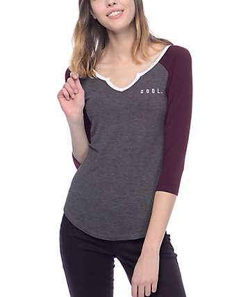 Empyre Lynn Cool Notch Blackberry & Charcoal Baseball T-Shirt