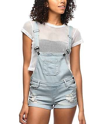 Empyre Madelyn Ripped Denim Overall Shorts