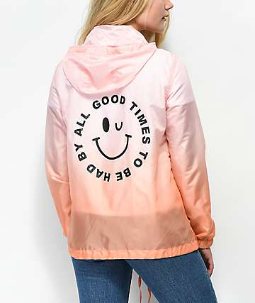 Empyre Marissa Smile Face Pink Dip Dye Windbreaker Jacket
