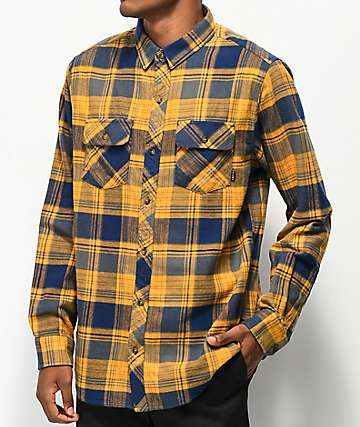 Empyre Marky Navy & Gold Flannel Shirt