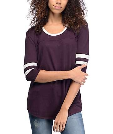 Empyre Marna Top camiseta tejida en blanco y color mora