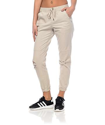 Empyre Mattia Khaki Destructed Twill Jogger Pants
