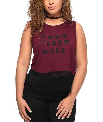 Empyre Meridith Good Vibes camiseta sin mangas en color vino
