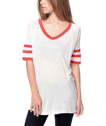 Empyre Mesa White & Red V-Neck T-Shirt