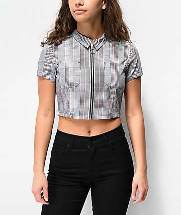 Empyre Mickey Plaid Crop Zip Front Shirt